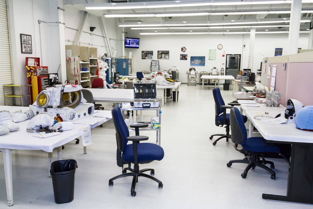 """The NBL's Suit and Tool Lab, where """"spacesuit tailors"""" work to fit and customize suits for astronauts."""