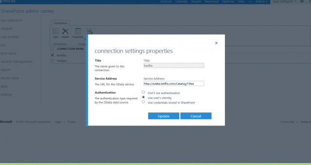 You can configure OData sources in SharePoint's Business Connectivity Services to feed structured data from lots of sources, (including, apparently, Netflix).