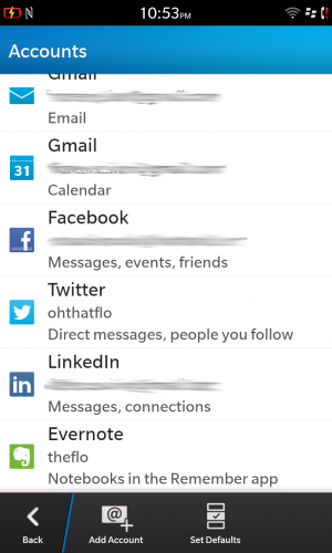 You can add various accounts to the Hub, including all of the major social networks and Evernote.