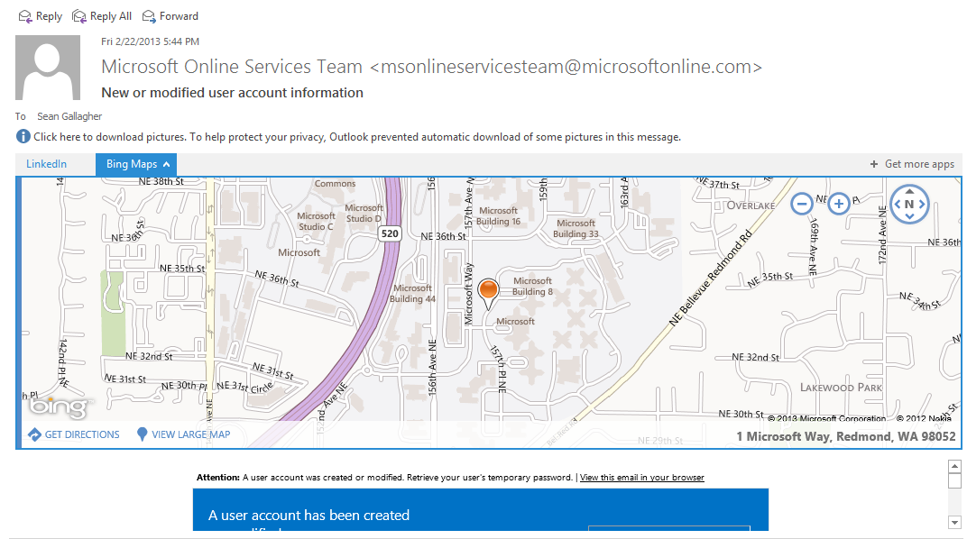 The Bing Maps application, in Outlook Web Access, finds an address and offers to show you where it is.