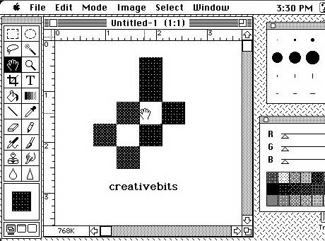 Photoshop 1.0 on a black and white Macintosh.