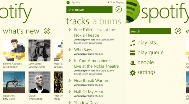The Spotify app is all nice and Metro-styled.