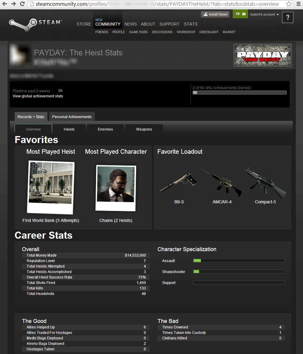 The multiplayer <i>Payday: The Heist</i> stats for a private user, before the hole was fixed.