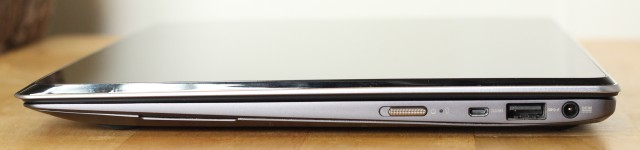 On the right side, a power slider, micro-HDMI port, USB 3.0 port, and power jack.