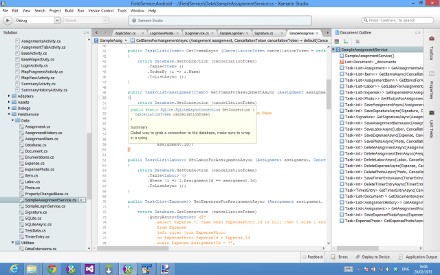 Xamarin Studio does all the things you'd expect an IDE to do.