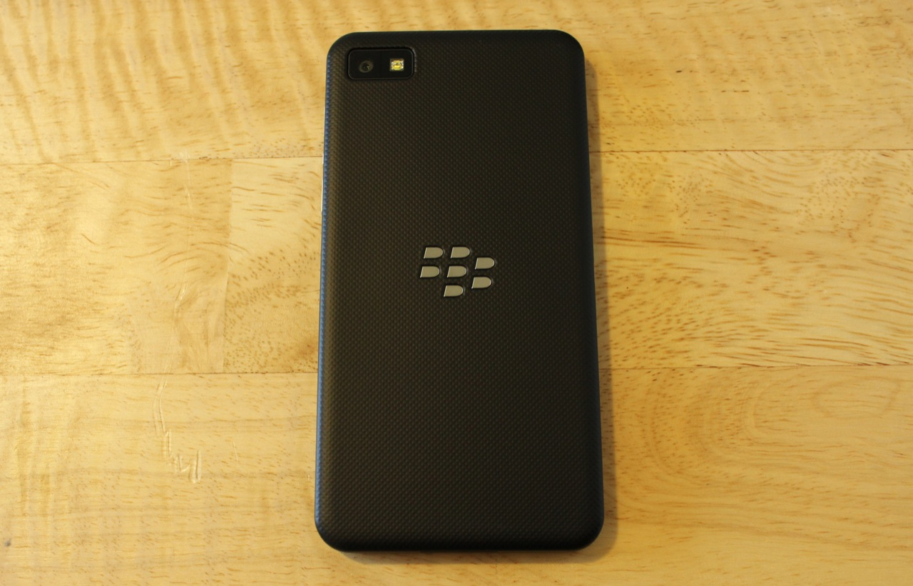 The soft rubberized back cover is broken only by an understated silver BlackBerry logo and the opening for the camera and LED flash.