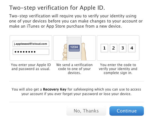 Apple follows Google, Facebook, and others with two-step authentication