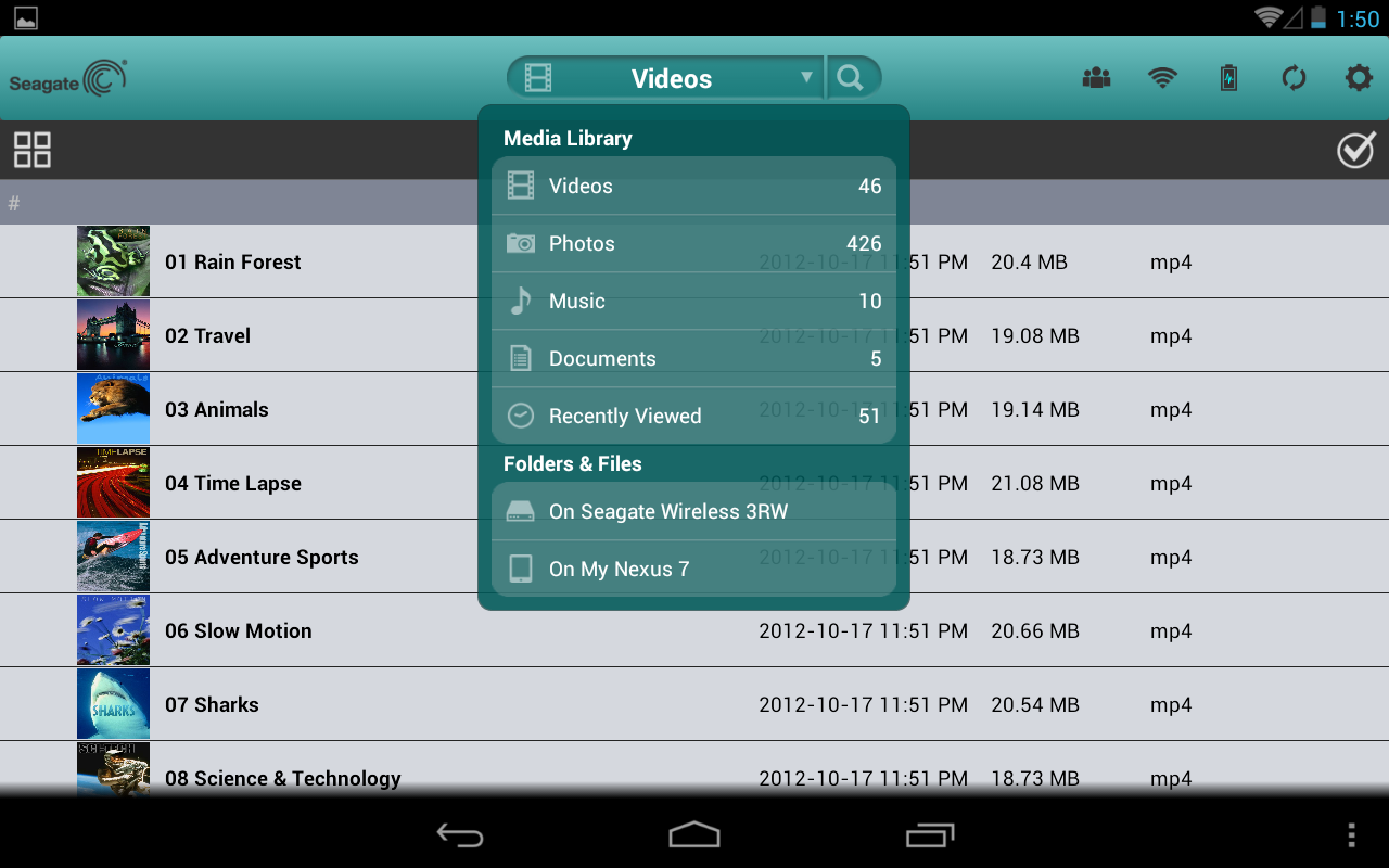 The Seagate Media app on a Nexus 7.