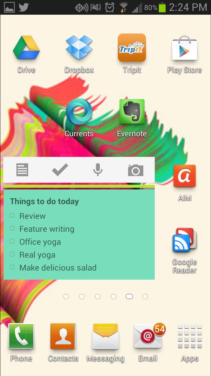Google Keep comes with two widgets for Android. This one is the extended version, with the ability to scroll through the notes without firing up the app.