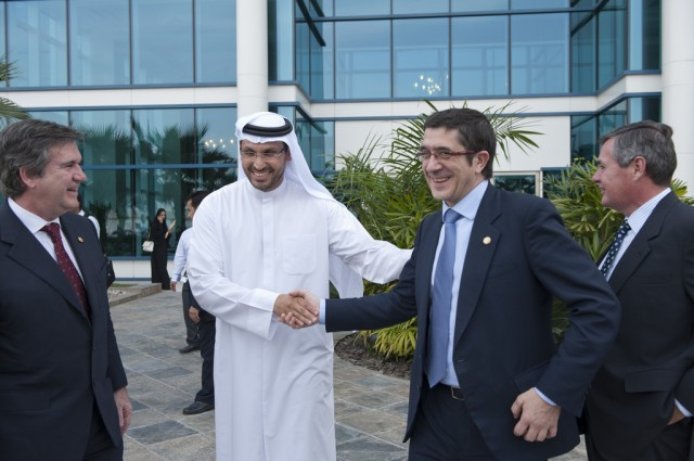 Khaldoon Al Mubarak (center) is the CEO of Mubadala Development, the investment company for the Government of Abu Dhabi.
