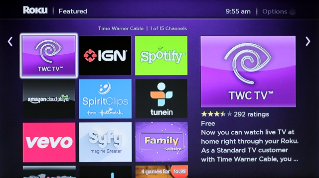 Roku features a variety of channels available for download.