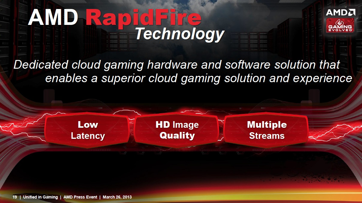 We don't know many details, but AMD's RapidFire promises to address at least some of the most common problems with cloud gaming.