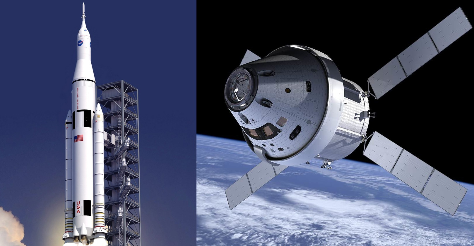 Artists' conception of the SLS launch vehicle, left, and the Orion capsule, right.