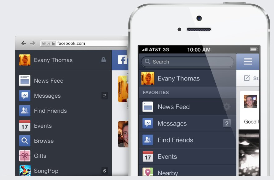 A consistent menu across Facebook's apps and Web interface.