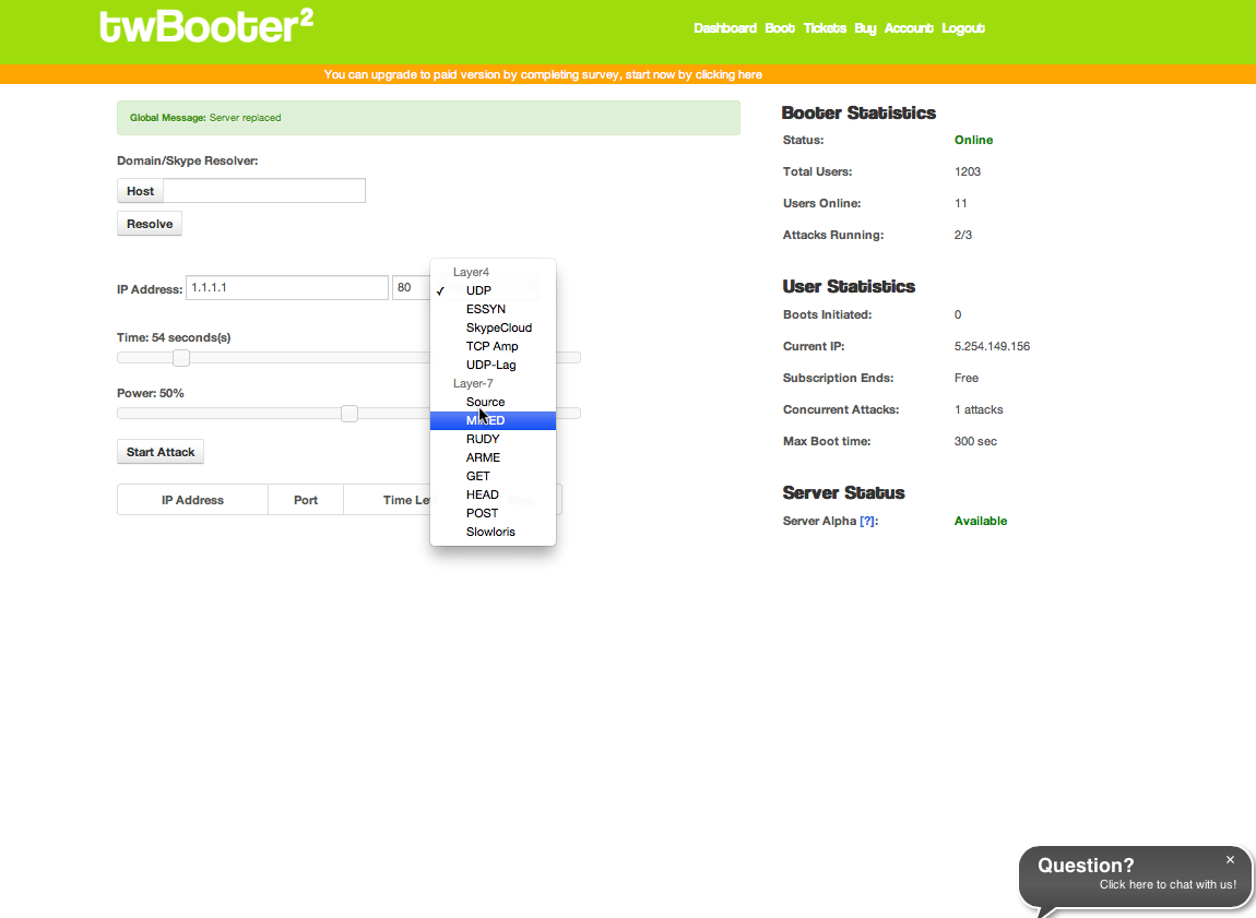 The Web form for launching attacks from TwBooter's free attack service.