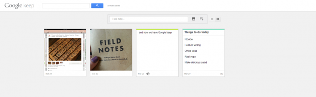 Use the Google Drive website to view your Google Keep notes.