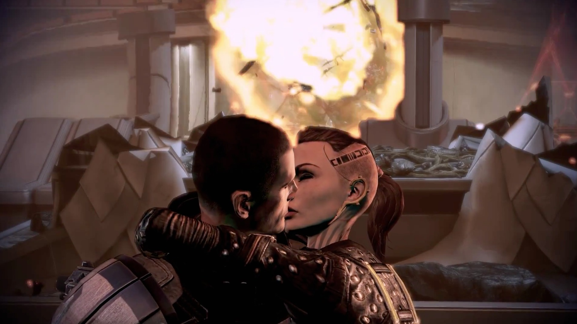 Cool guys don't look at explosions. They kiss their girls as they turn away.