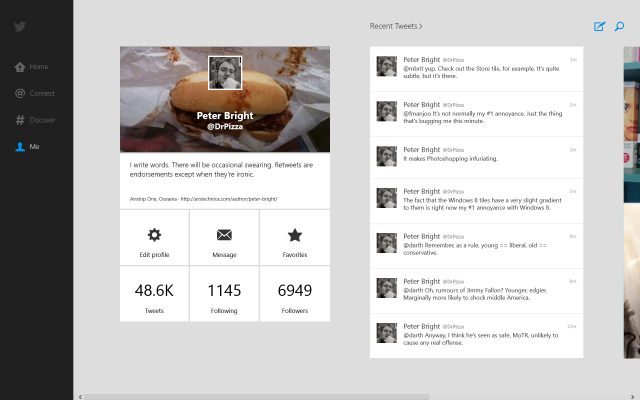 The Windows 8 Twitter application is a pleasing marriage of Twitter's branding and the Metro look and feel.