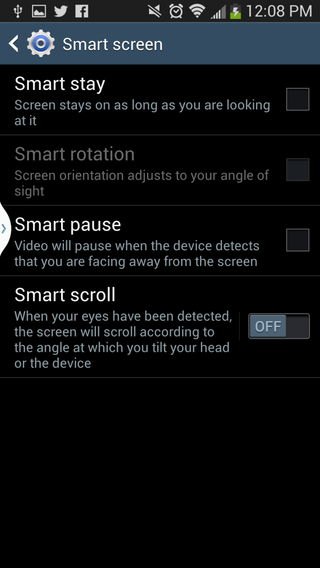 The Smart Screen menu.