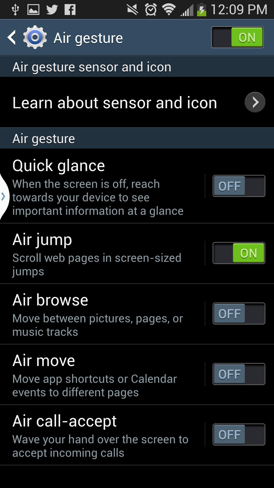 The Air Gesture menu.