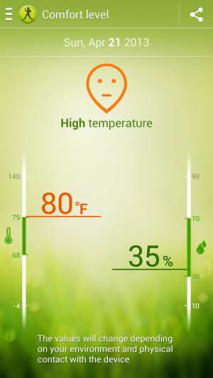 "S Health's ""comfort level"" measures the environment you're in."
