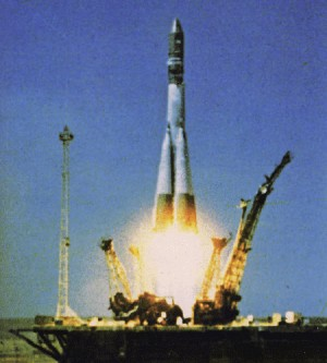 Vostok 1 lifts off from Tyura-Tam cosmodrome