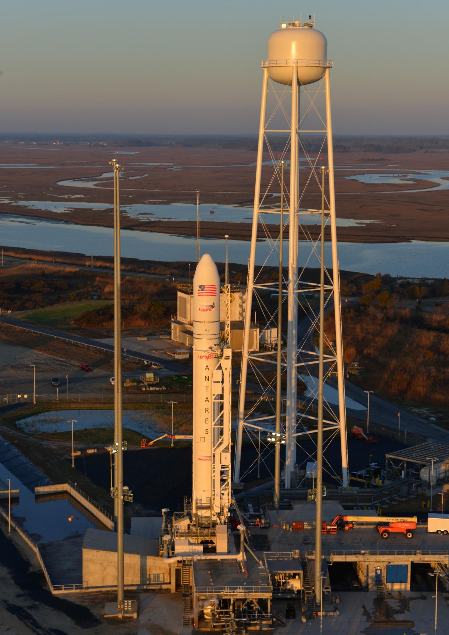 The Antares rocket on the pad at MARS.