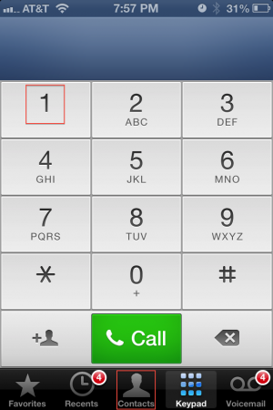 The red squares laid over top of the iPhone's dialer app represent Apple's minimum recommended size for tappable onscreen elements.