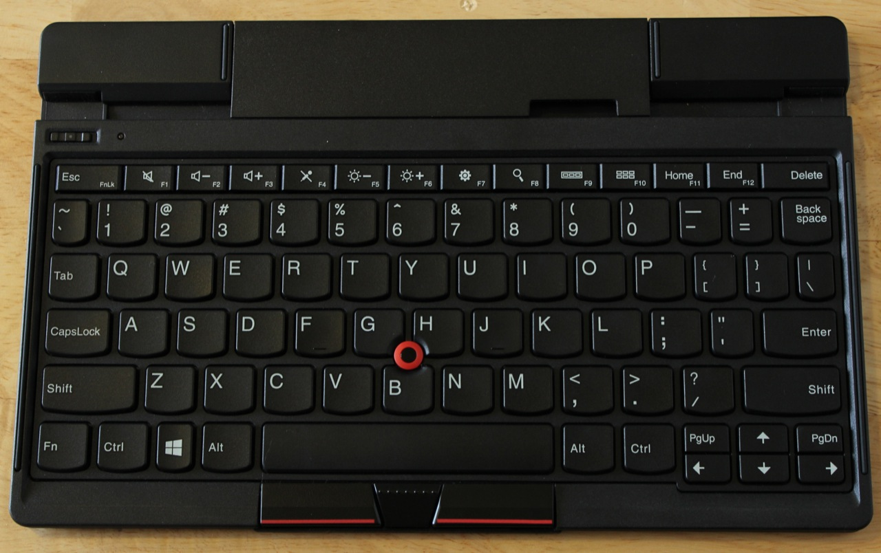 "The keyboard stand by itself. Note the ""optical TrackPoint"" in its center. Most of the keys here are full-size, but many on the left and right sides are narrower horizontally than on full-size ThinkPads."