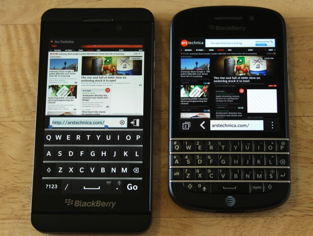 The Z10's software keyboard actually obscures a bit more of the screen area than the Q10's, but the software keyboard can be dismissed to regain that screen space.