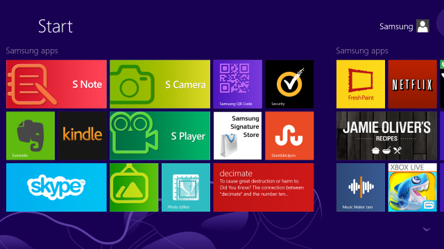 Just a portion of the apps preloaded by Samsung onto the 700T.
