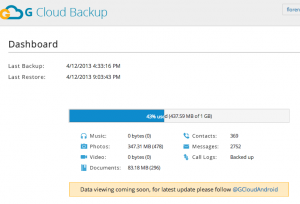 G Cloud's online backup manager.