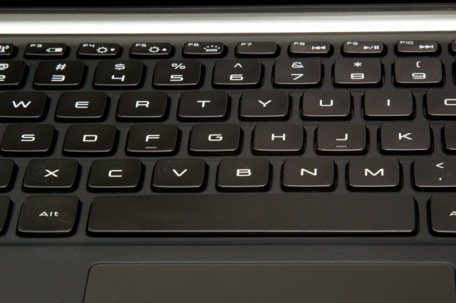 XPS 13 keyboard detail. I found the keys to be unfortunately spongy.