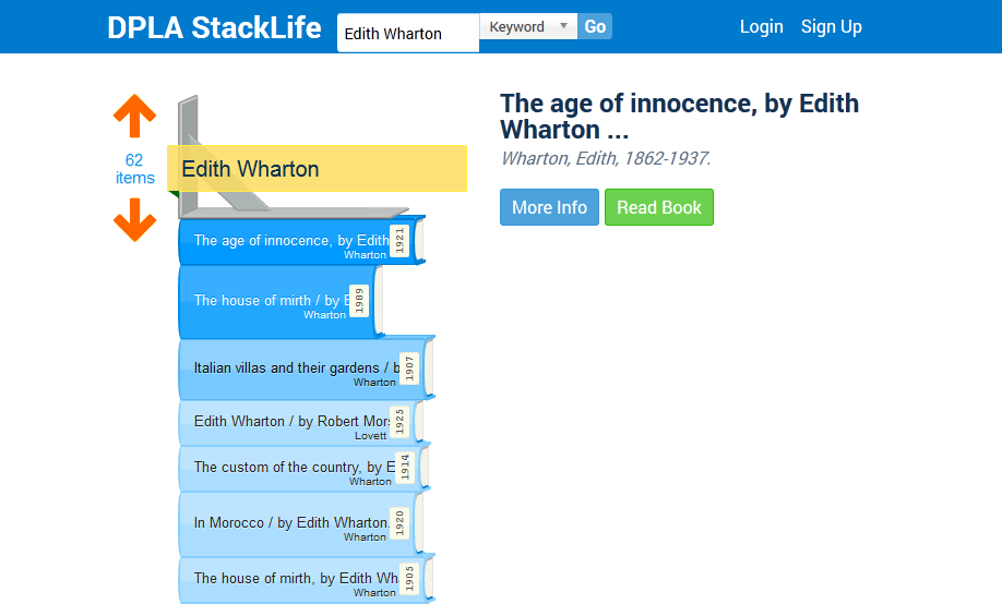 Searching StackLife for Edith Wharton.