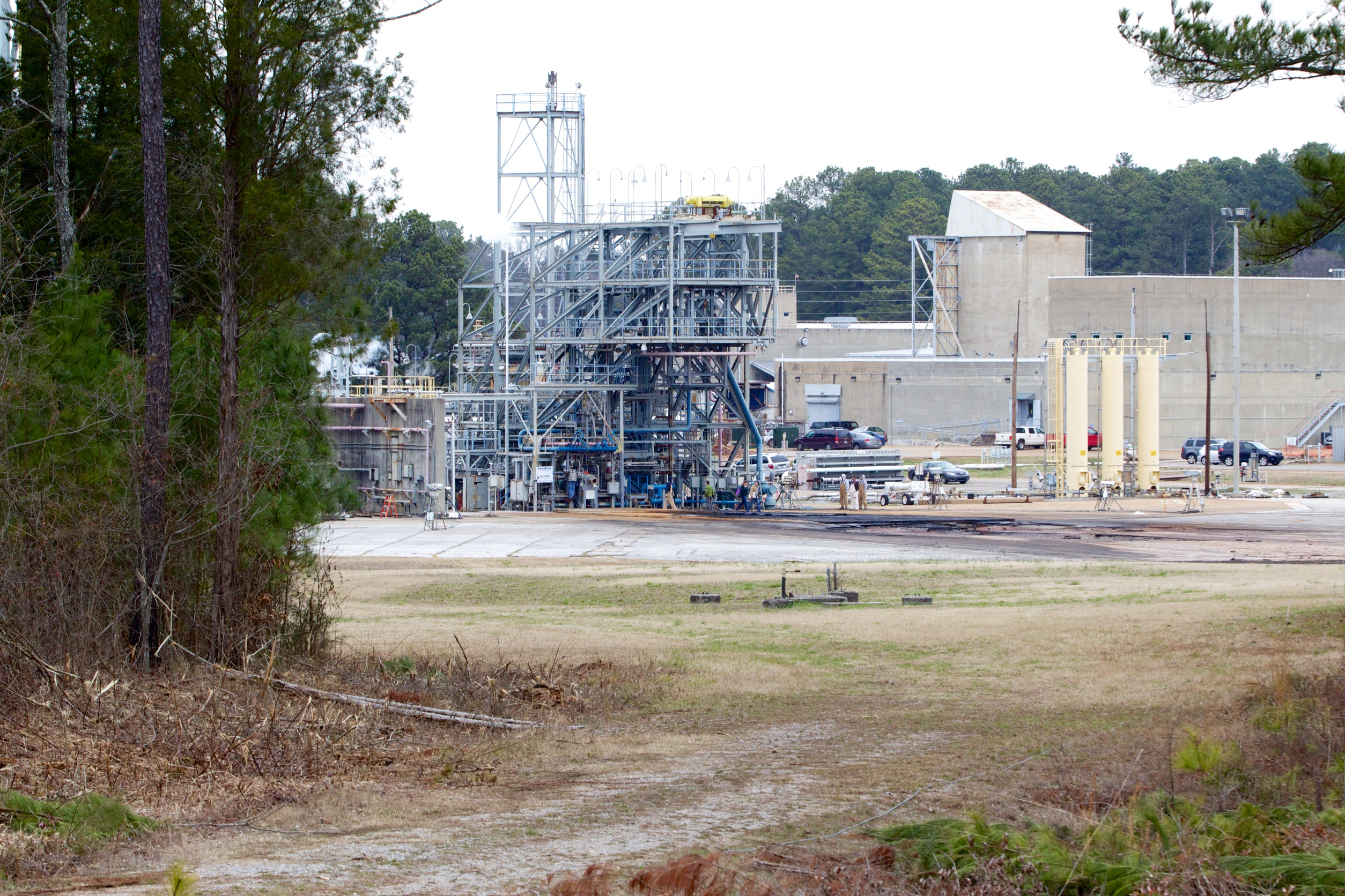 The view from the bleachers, looking at the gas generator test stand.