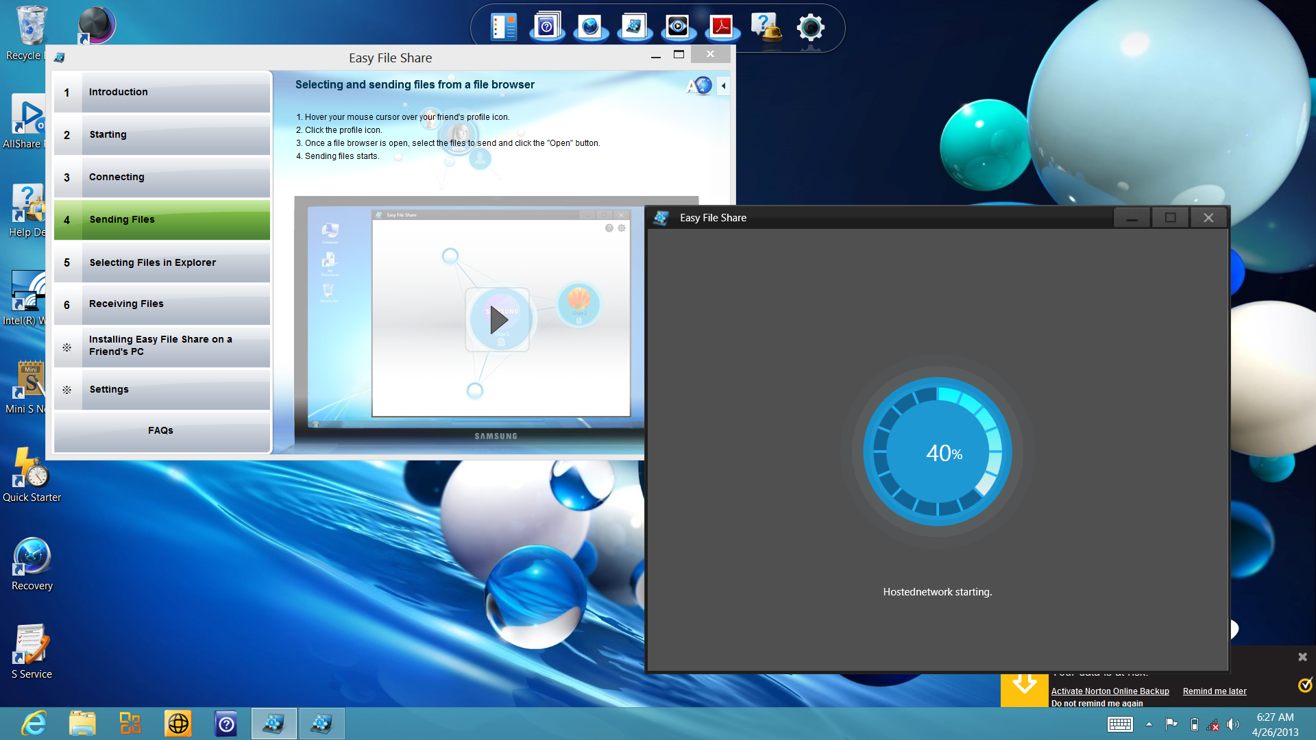 """The """"Easy File Share"""" app runs in Windows 8's Desktop and allows you to drop files to other Samsung PCs."""