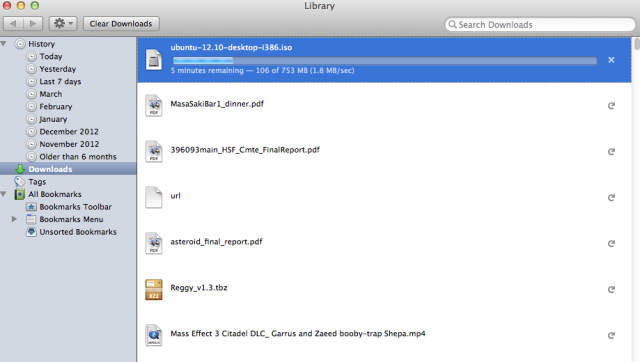 Firefox 20's new download manager.