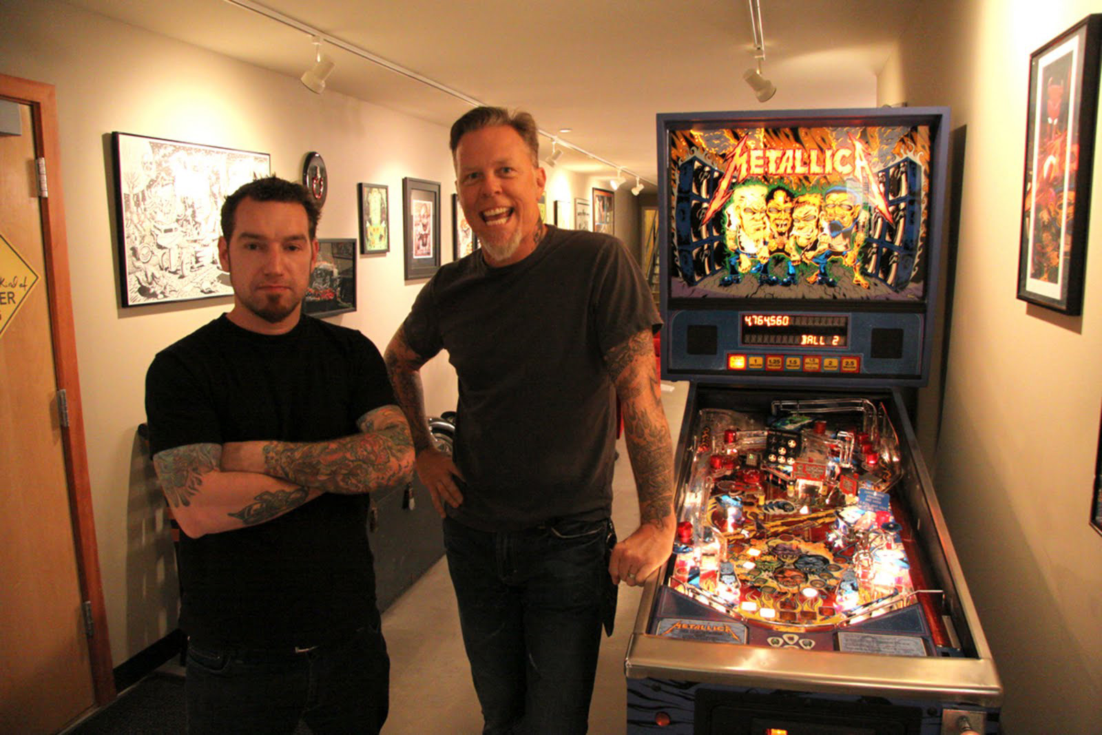 Dirty Donny and James Hetfield with the original custom <em>Metallica</em> table.