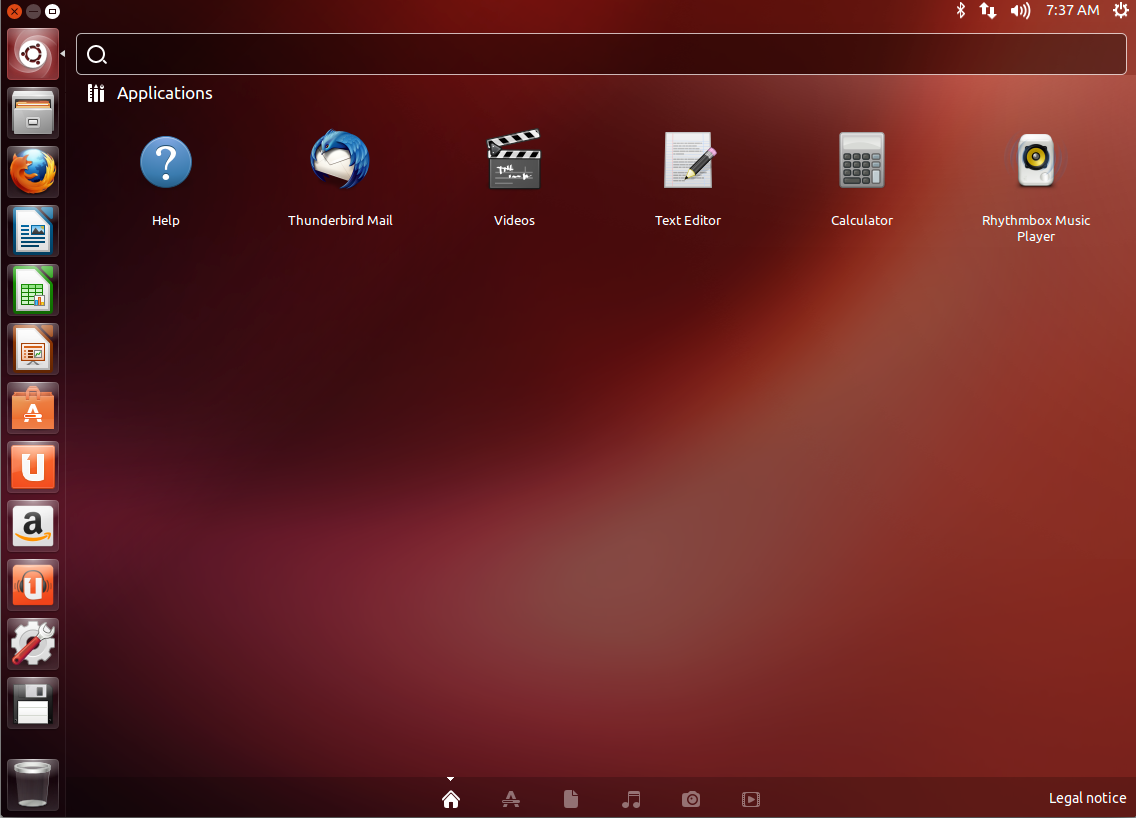 Ubuntu 13.04 default desktop, with the Dash open.
