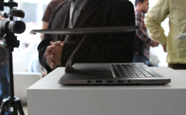 As stiff as the hinge is, it's also very flexible, and can bend into lots of other positions. When you fold the screen down over the keyboard and trackpad, it doesn't sit flush, but is angled slightly toward the user.