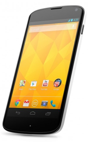 The white Nexus 4 has a black front, but white sides and a white back.