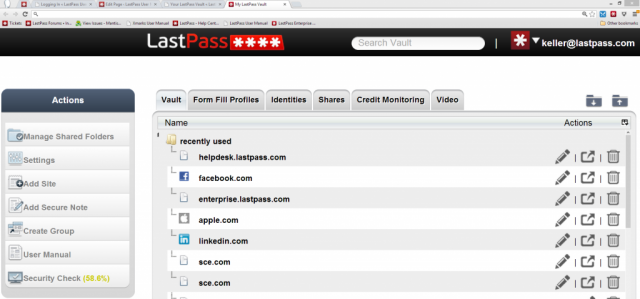 LastPass creates a desktop-like application within the browser.