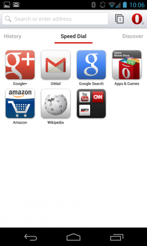 The Speed Dial tab presents your frequently visited and bookmarked sites in a home screen-like customizable grid.