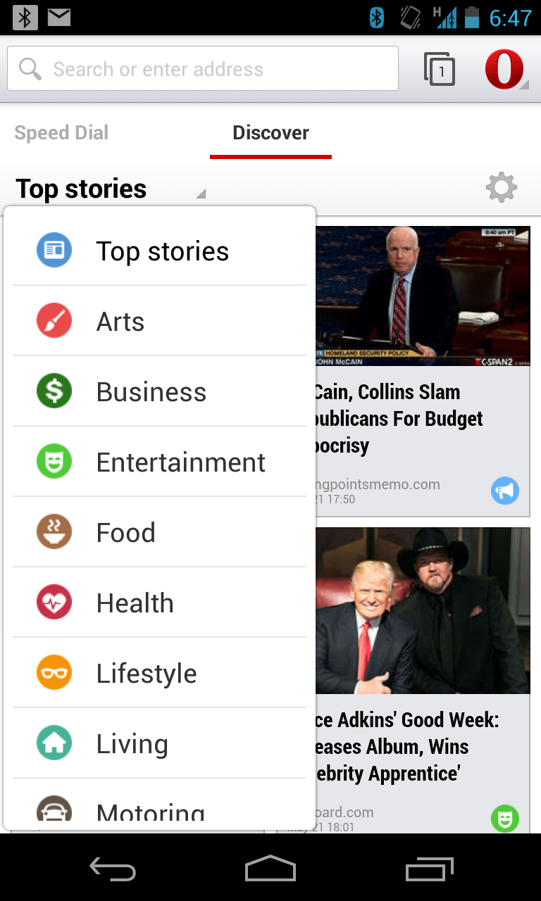 The Discover tab shows you top stories in a customizable list of categories. Tap the gear to toggle categories on or off.