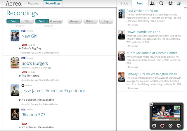 Aereo's DVR service comes in 20-hour and 60-hour denominations.
