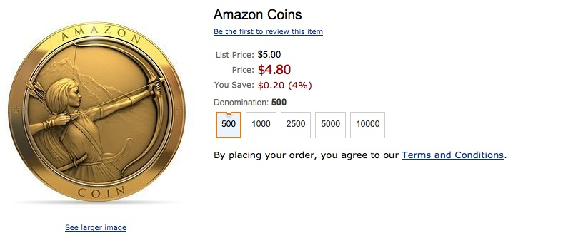 Want to buy $1 in Amazon Coins? Too bad.