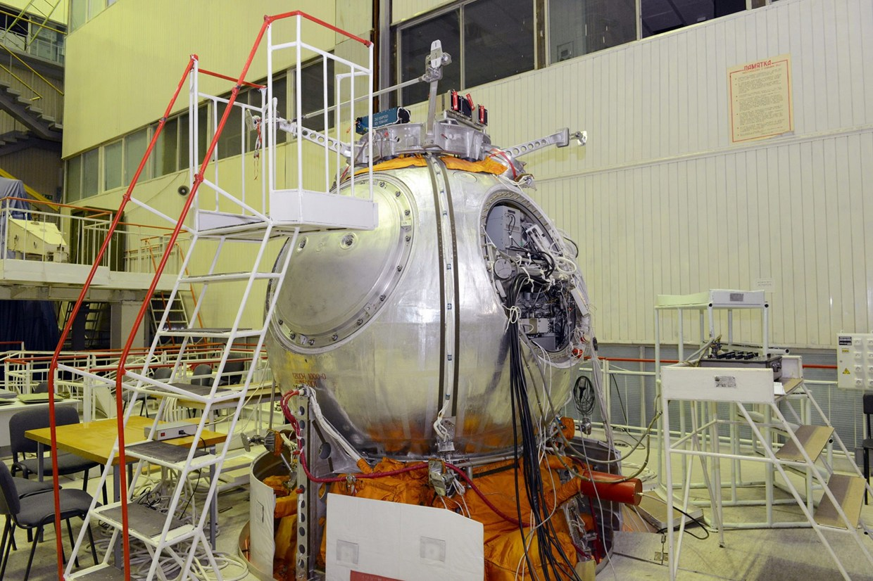 The mission's Bion-M life sciences satellite being prepped for launch.