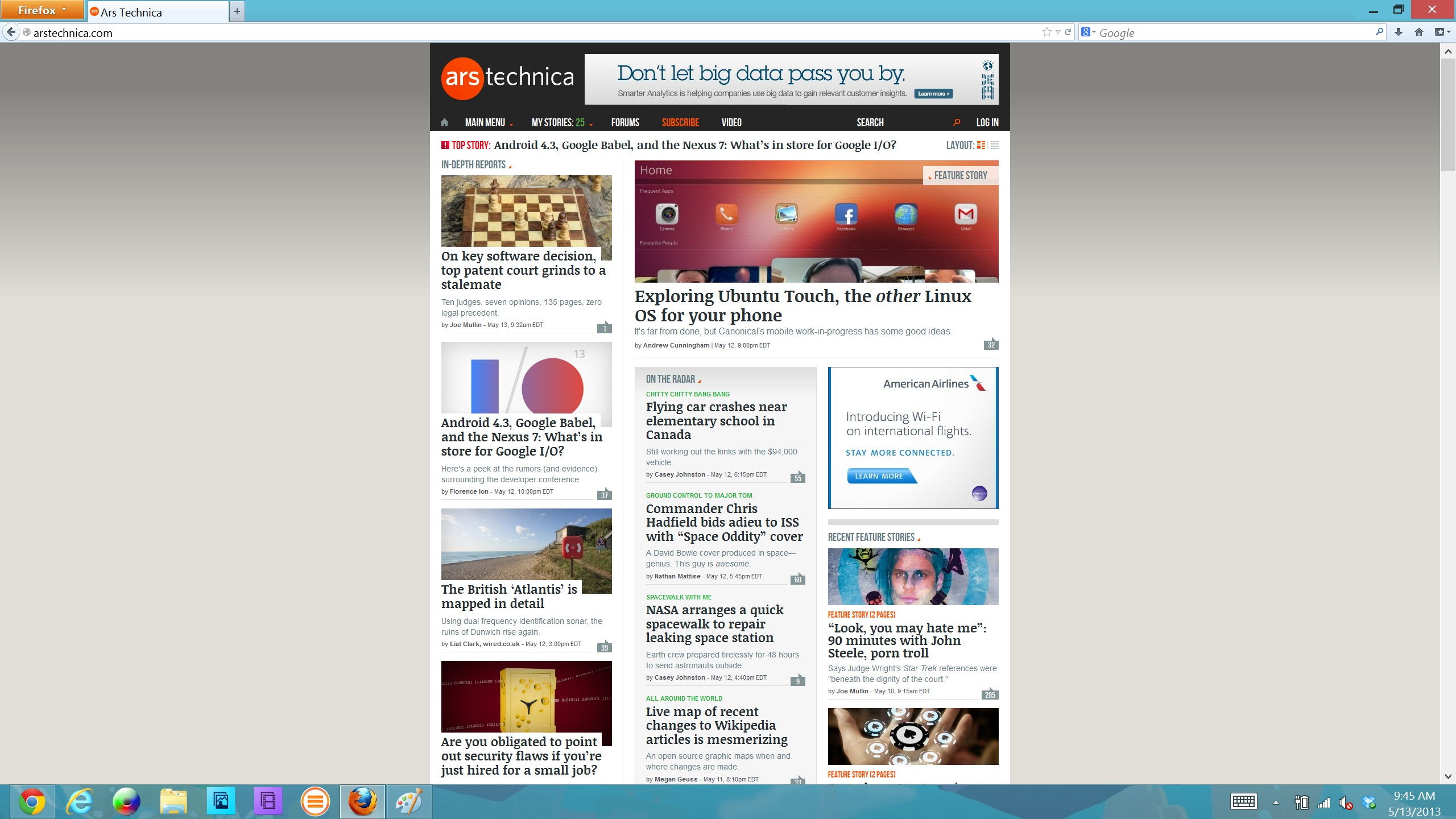Mozilla Firefox's UI renders nicely, but the page content doesn't scale along with it.