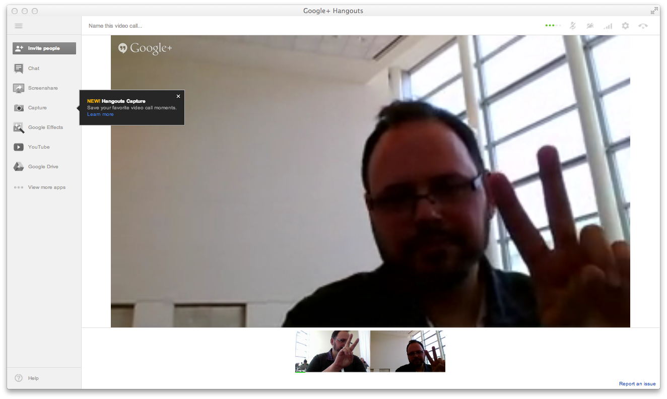 "For science, here I am hanging out with myself on video. Hangouts also allows video stills to be captured to an archive album, so you can ""save your favorite moments""—or the text on that white board in your conference chat."