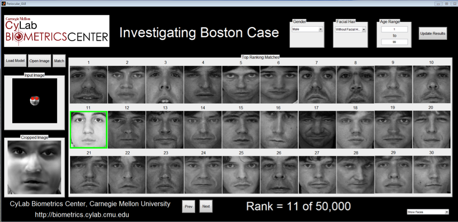 A screenshot of the search results using the extrapolated image of Dzhokhar Tsarnaev against a 50,000 image mug shot database. Tsarnaev's high-resolution mug shot ranked at 11 in the search.
